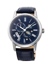 ORIENT AUTOMATIC SUN & MOON VERSION 3 BLUE LEATHER MEN'S WATCH FAK00005D0 NEW
