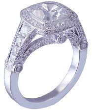 14k White Gold Cushion Cut Diamond Engagement Ring Bezel Set Antique Deco 2.10ct