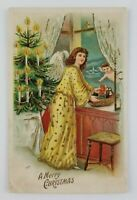 Postcard Merry Christmas Angel Tree Star