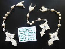 lot de 3 ancien fond de chapelet croix en os avec vue et perles guillochées OS