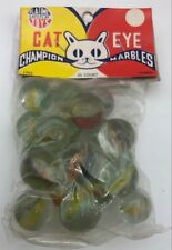 Cat Eye Vintage Antique Platime Toys Champion Marbles in Original Package 20ct