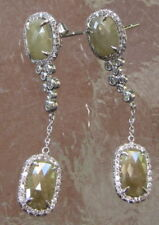 18KT WHITE GOLD NATURAL GREEN SLICE DIAMOND DROP EARRINGS BY LEGACY DESIGNS