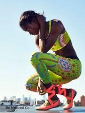 Nike Pro Sparkling Sunburst Tights L Green Pink Volt Multi Gym Yoga Training New