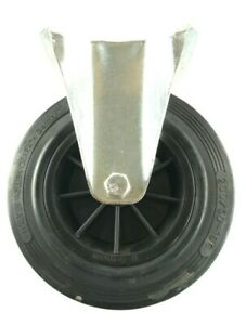Heavy Duty Fixed Caster Rubber Wheel Needle Bearing 8 Inch 20 cm Halver Gerrath