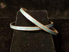 "Vintage 1970s Turquoise Bangle Bracelets (2), 7"""