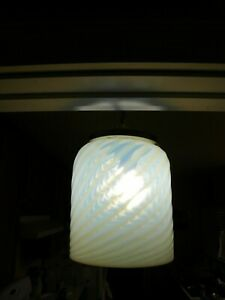 A 1930's SWIRL OPALESCENT PENDANT LAMP SHADE WITH ORIGINAL METAL TRIM