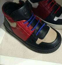 NIB NEW Gucci boys black beige coda leather high top sneakers shoes 21 5 340872
