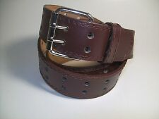 "Men Brown Leather Belt Two Hold with Silver Buckle 38"" #9041"