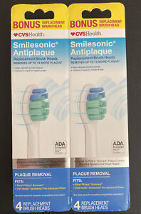 Lot of 2 CVSHealth Smilesonic Antiplaque Replacement Brush Heads, 4 EACH, New