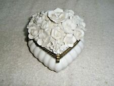 Vintage Ardalt Porcelain Trinket Box Heart Shaped Flowers Made in Japan