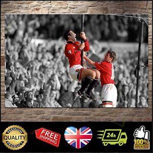 Eric Cantona Roy Keane MAN UTD Manchester United | Canvas Print Photo | 4 Sizes