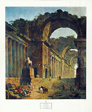 HUBERT ROBERT Vintage c1960's OOP Collograph THE FOUNTAINS, New York Graphic Soc