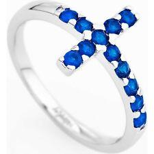Anello Amen in argento con croce in cristalli blu ref. ACOBBL-14