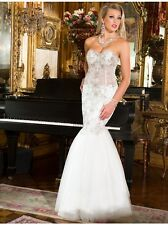 $799 NWT WHITE SHERRI HILL PROM/PAGEANT/FORMAL/WEDDING DRESS/GOWN CB3898 SIZE 12