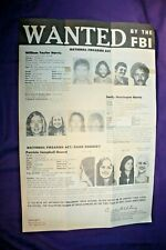 "Patty Hearst 1975 FBI Wanted Poster 10.5x16"" SLA"
