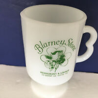 vintage milk glass pedestal cup mug Blarney stone lounge Pittsburgh PA