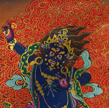 "24"" SILK BROCADED GOLDEN WOOD SCROLL TIBETAN THANGKA:VAJRAPANI, POWER OF BUDDHAS"