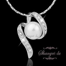 18K White GOLD Plated Bridal PEARL NECKLACE Genuine SWAROVSKI CRYSTAL L182