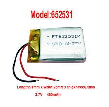 5pcs li-polymer Rechargeable Li-Po Li-ion Battery 450mAh 3.7V 652531 for GPS MP3