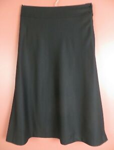 SK17627- TALBOTS Women 99% Wool Thin Flannel A-line Flare Skirt Charcoal Gray 8