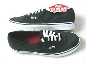 Vans Womens Authentic Design Assembly Corduroy Shoes Black White Size 10 NWT