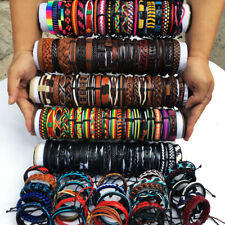 Random 30Pcs/lot Charm Handmade Leather Cuff Bracelet Wristband Party Gift  MX20