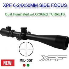 Aim 6-24x50 Dual-illuminated.Rifle Scope Side Focus Locking Turrets MIL-DOT