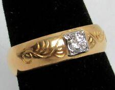 SWEDISH CRAFTED 23K GOLD WEDDING BAND / RING WITH SUPERB GEM .25ct DIAMOND
