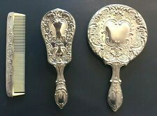 Vintage Godinger 3 Piece Silverplate Metal Ladies Vanity Set-Mirror/Brush/Comb