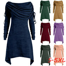 Plus Size Womens Ruched Long Foldover Collar Tunic Top Blouse Tops Sweater Dress