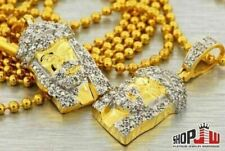 14k Gold Plated Simulated Diamond Double Jesus Piece Chain Set Bling Style Mens