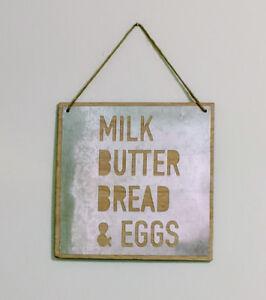 "9"" Metal/Wood Milk Butter Bread Eggs Sign Home/Kitchen Decor Rustic/Farmhouse c8"