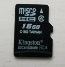 Kingston 16GB Micro SD SDHC Memory Card Class 4