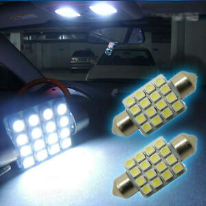 """2 Pairs White 16-SMD 1.50"""" 36mm 6418 C5W LED Bulbs For Car License Plate Light"""