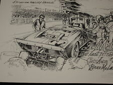 Ford Gt 40 MK2 24 H of / the Mans 1966 Amon Mclaren Printing Numbered and Signed
