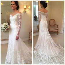 Modest Off Shoulder Long Sleeves Wedding Dresses Lace Bridal Gowns Buttons Back