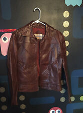 VTG 70s 80s Red Brown Leather Saxony Zip Up Jacket Coat Blazer Sport 44 M