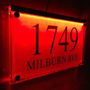 Large Crystal effect House Signs Plaques Door Numbers Name Plate Red LED LIGHT