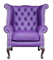 Chesterfield Armchair Queen Anne High Back Wing Chair Wineberry Purple Leather S