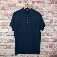 John Varvatos Collection Men's Short Sleeve Polo Shirt Blue Silk Cotton Sz 2XL