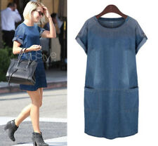 Womens loose Denim Jeans Shirt Dress Pocket Fashion Causual Dress plus size hot