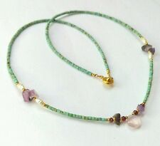 Afghan Natural Turquoise Tiny Seed Beads & Amethyst, Pearls Necklace Jewelry
