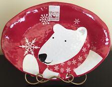 LOT/3 SERVING PLATTERS Melamine POLAR BEAR SNOWFLAKE Holiday Winter RED NWT