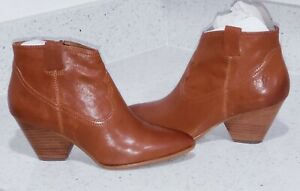 Women's Frye Reina  Leather Bootie Cognac Brown Size 8 MED L N W  Pointed Toe