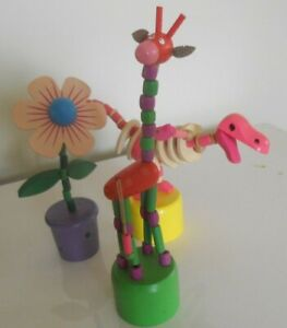 Multicolored Character  Wooden Rocking Thumb Toys