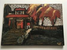 BEAUTIFUL VINTAGE TEXTURAL ABSTRACT LANDSCAPE PAINTING ON LACQUERED WOOD SIGNED