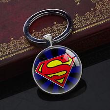 Superman Superhero Keychains Glass Pendant Silver Vintage Keyring Party Gift