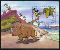 Gambia 1991 Disney/ILY/Mickey/Rhino/Books/Cartoons/Animation 1v m/s  (d00110)