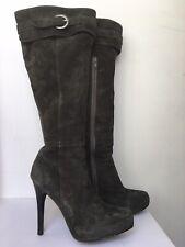 Moda in Pelle Grey Suede High Heel Knee High Boots with Zip and Buckle Size 39