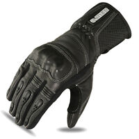 Motorcycle Motorbike Gloves Biker Racing Wear Black Goat Leather Knuckles 1647 M
